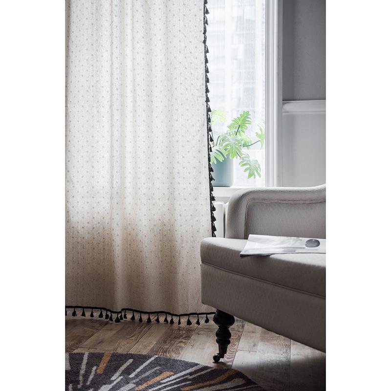 Rèm canvas, rèm decor trang trí MARYTEXCO trang trí nhà cửa, làm dịu nhẹ ánh sáng tự nhiên, rèm ore hoàn thiện TUA RUA TRẮNG tặng kèm dây buộc rèm vintage - họa tiết HOA CÚC TRẮNG R-I02 (Giao hàng cho vận chuyển trong 8h làm việc)