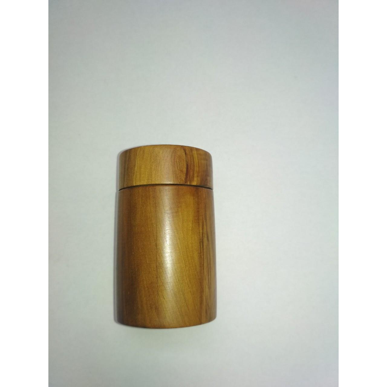 Lọ tăm, hũ đựng tăm hình trụ gỗ bách xanh.