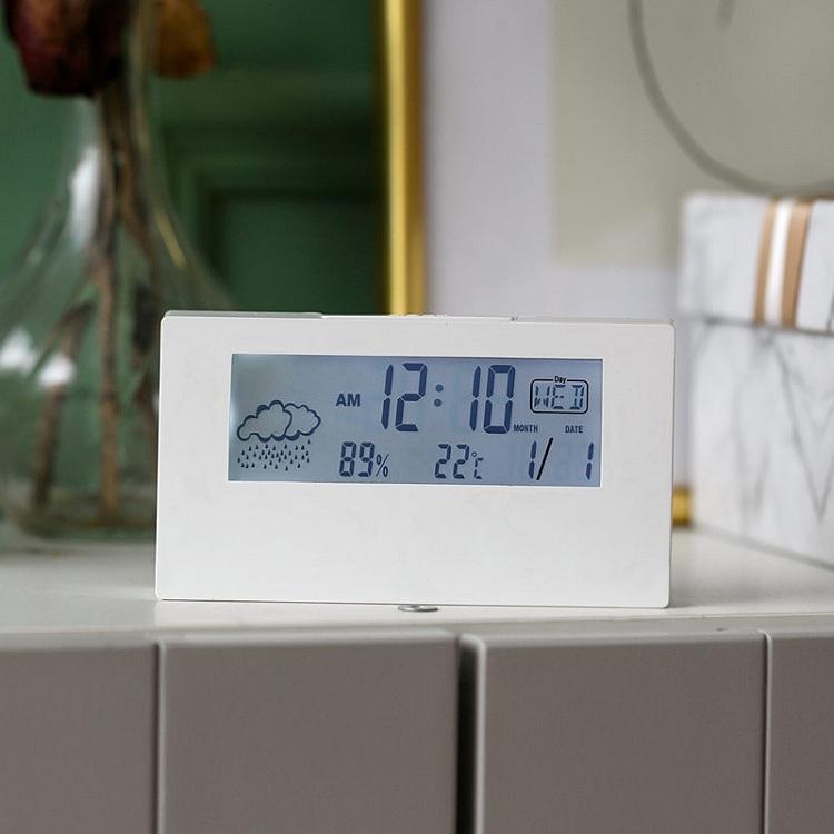 Đồng hồ điện tử để bàn có đèn - Kèm pin ( Màu ngẫu nhiên Đen - Trắng )