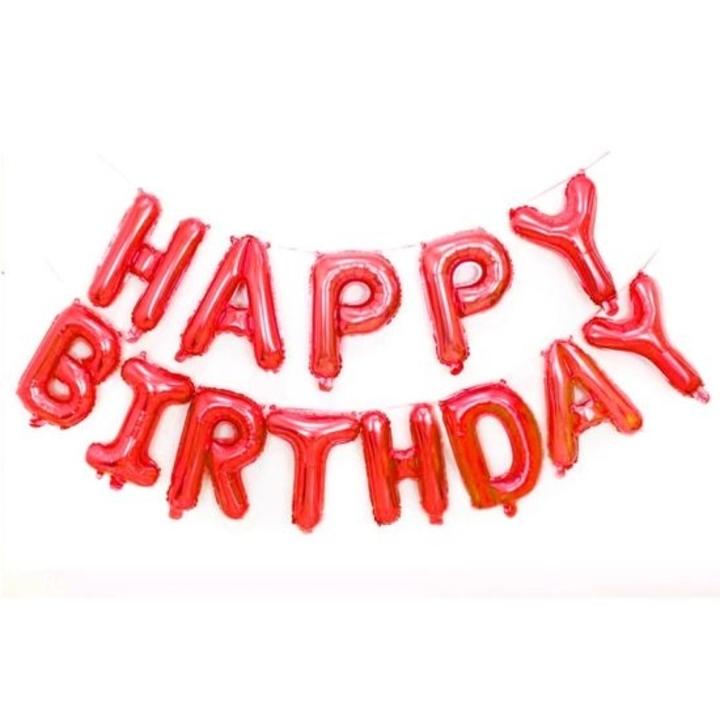 Bong bóng chữ Happy Birthday màu đỏ