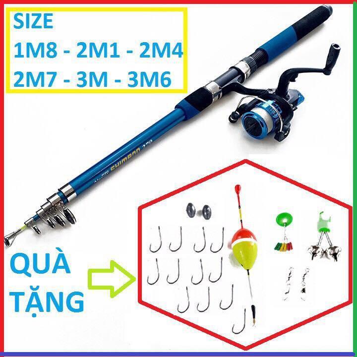Bộ cần câu giá rẻ 1m8-2m4- 2m1-2m7-3m-3m6 kèm máy+dây+bộ phao lưỡi và phụ kiện