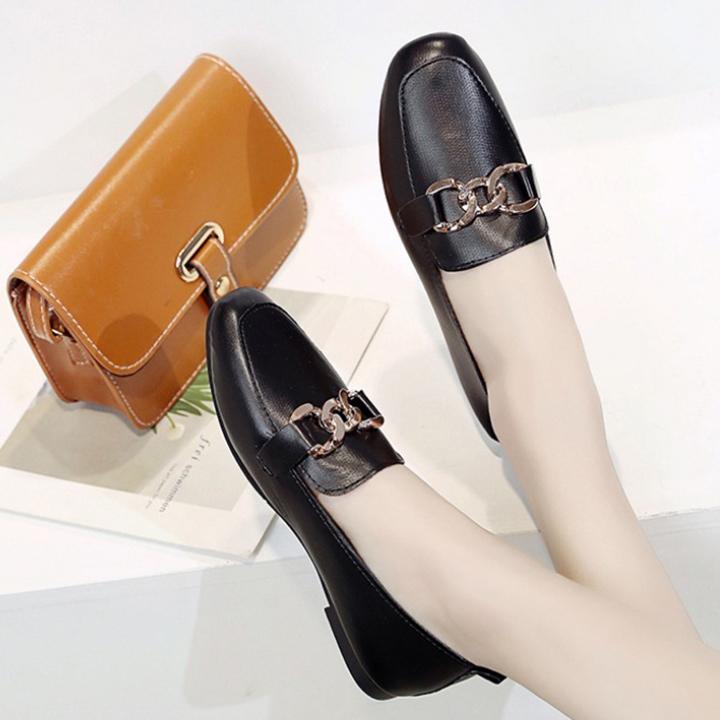 Giày loafer bệt khoen ngang, giày búp bê, giày nữ đế bệt S163