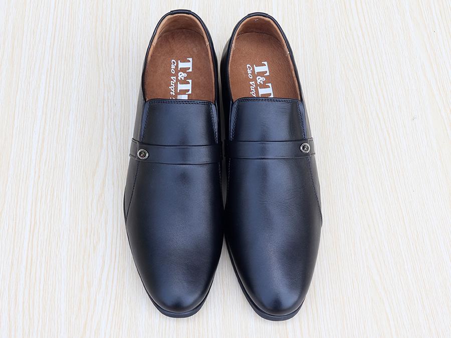 Giày Cao Nam T&TRA Tăng Cao 6Cm- T05 Đen- Chất Liệu Da Bò Cao Cấp, Đế Cao Su Đúc, Phần Tăng Cao Ẩn Bên Trong