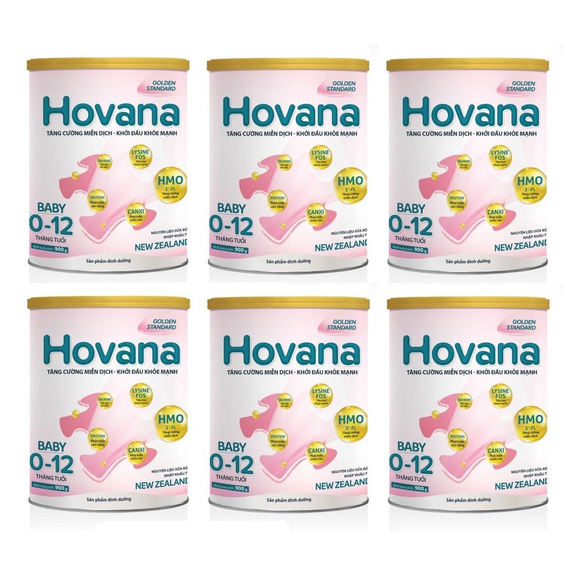 Bộ 6 Lon Sữa bột Hovana Baby hỗ trợ tiêu hóa cho bé từ 0 đến 12 tháng 900gr