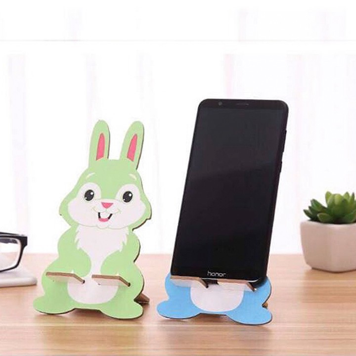 Bộ 02 giá đỡ điện thoại hình thú ngộ nghĩnh bằng gỗ