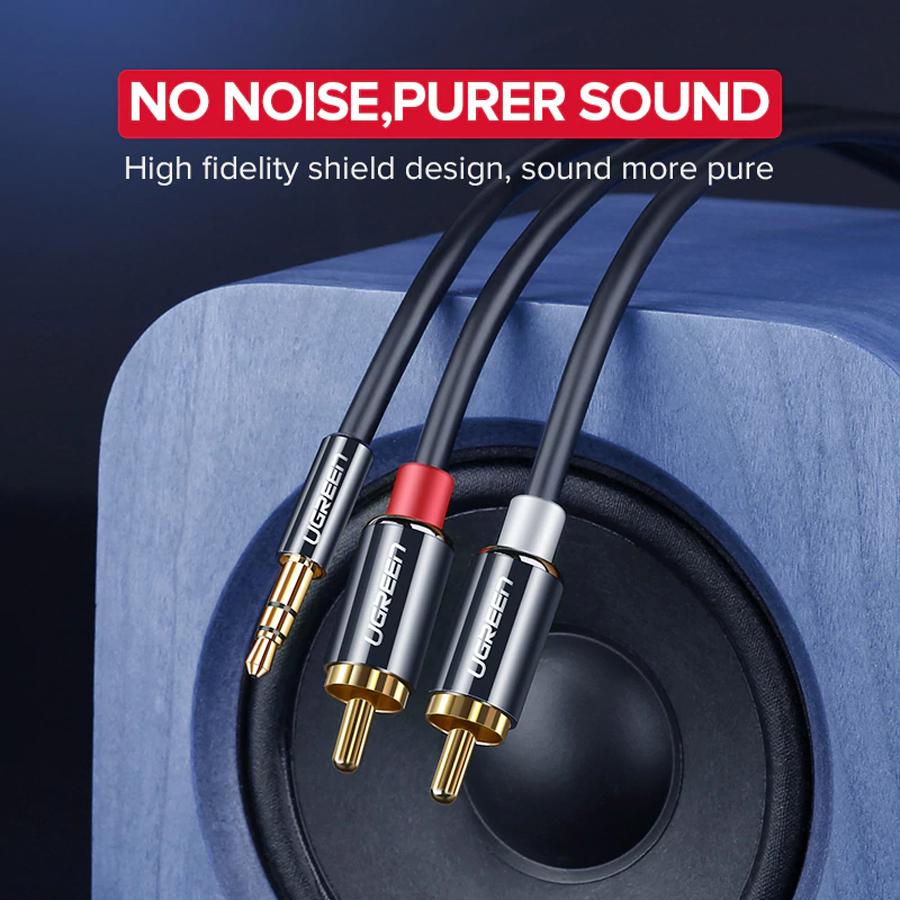 Cáp Audio 3.5mm to AV hoa sen (RCA) dài 1M Ugreen 10749 vỏ nhôm - Hàng Chính Hãng