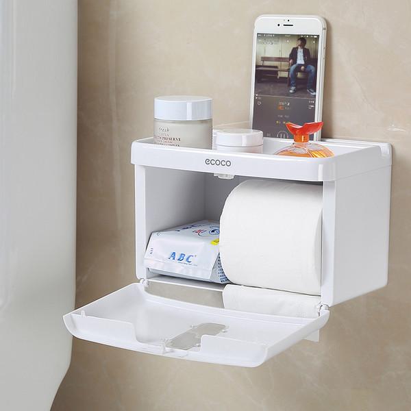Hộp đựng giấy vệ sinh treo tường nhà tắm Cao cấp Ecoco kích thước 22 x 15 cm