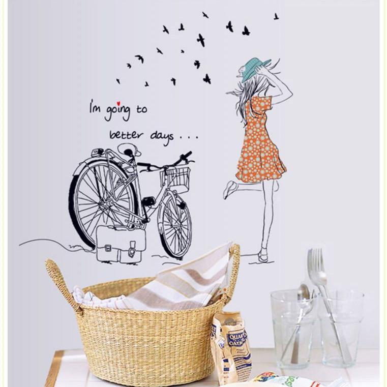 Decal dán tường cô gái xe đạp mẫu 2 - HP104