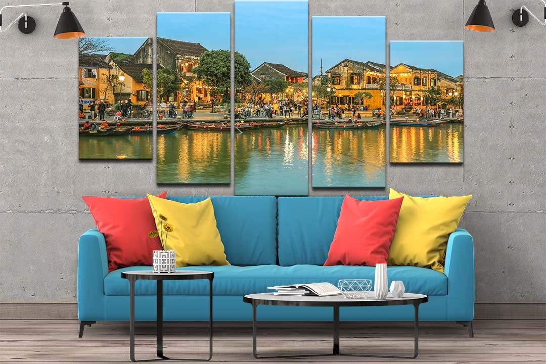Bộ 5 tranh canvas treo tường phong cảnh phố cổ Hội An về đêm - B5T019