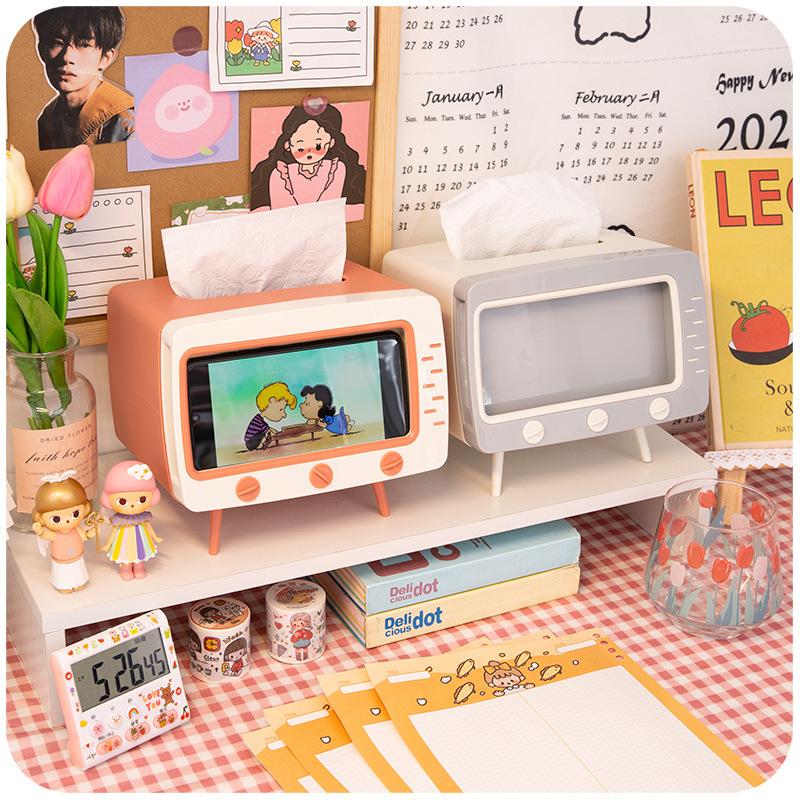 Hộp khăn giấy để bàn có khay đựng điện thoại, mô phỏng hình TV retro. cổ điển, kích thước 18.5 * 16 * 14.5cm , màu sắc giao ngẫu nhiên - Hàng chính hãng