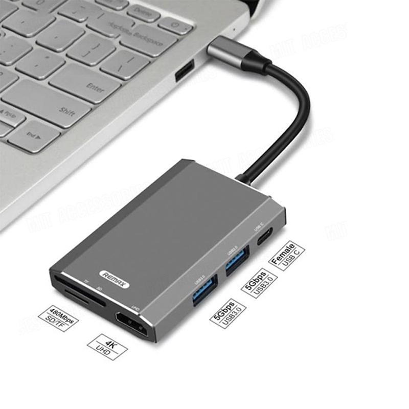 Hub chuyển đổi Remax RU-U30 6 in 1 cổng Type C ra USB 3.0 Hợp Kim Nhôm + HDMI + Đầu đọc thẻ nhớ - Hàng Chính Hãng