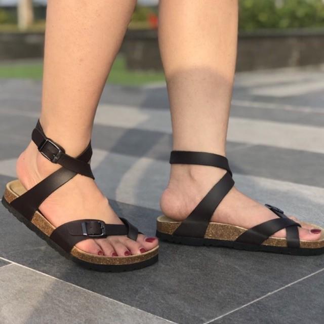 Sandal cao cổ nam nữ unisex Đế Trấu SB06 Đen