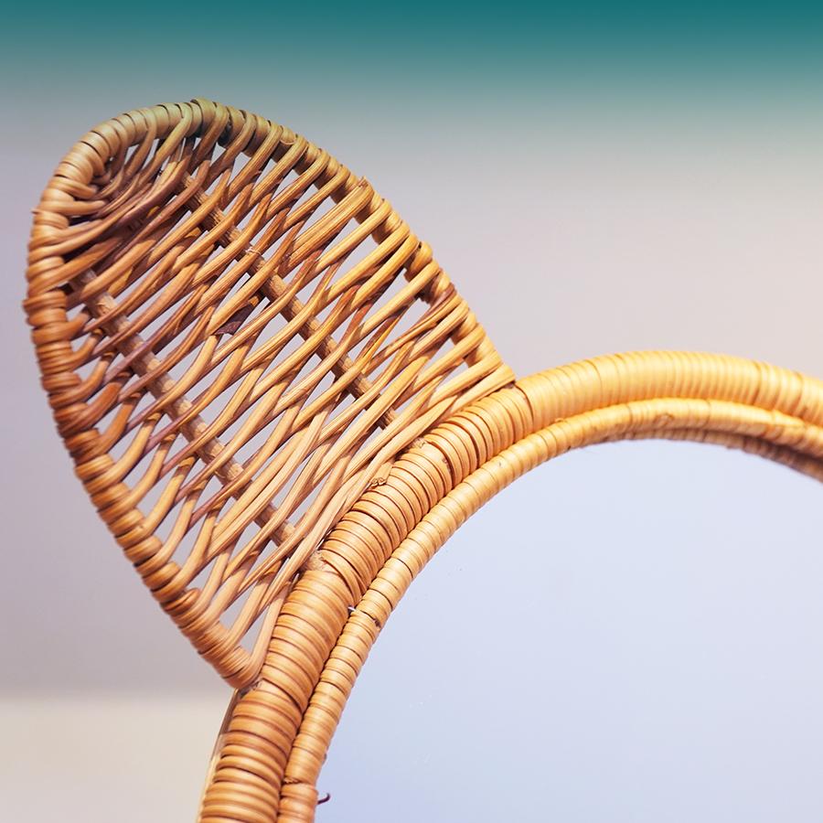 Gương mây tre đan hình tai gấu treo tường - Hàng thủ công cao cấp