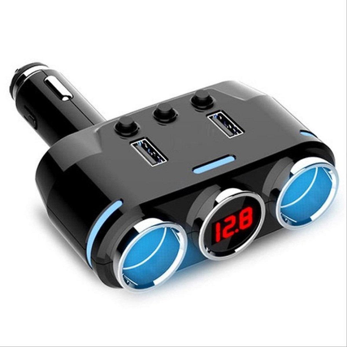 Bộ chia tẩu sạc đa năng trên xe hơi, ô tô BC39- CÔNG SUẤT 100W, 2 CỔNG USB (Tặng quạt nhựa mini cắm cổng USB-Giao màu ngẫu nhiên)