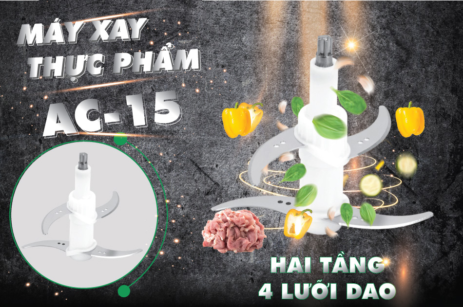 Máy xay thịt, cá đa năng Magic AC15 2 lưỡi dao kép cối thủy tinh (300W) - Hàng chính hãng
