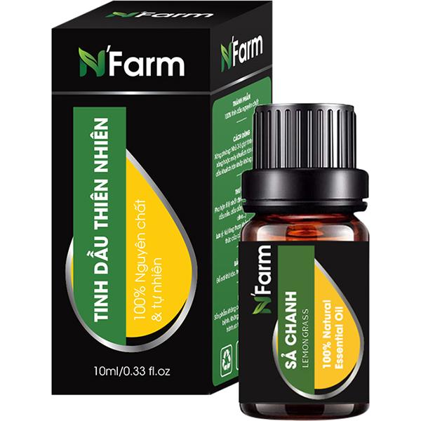 Máy khuếch tán tinh dầu Quả đào gỗ nâu N'Farm NF2025, tinh dầu sả chanh, tinh dầu cam N'Farm (10ml x2)