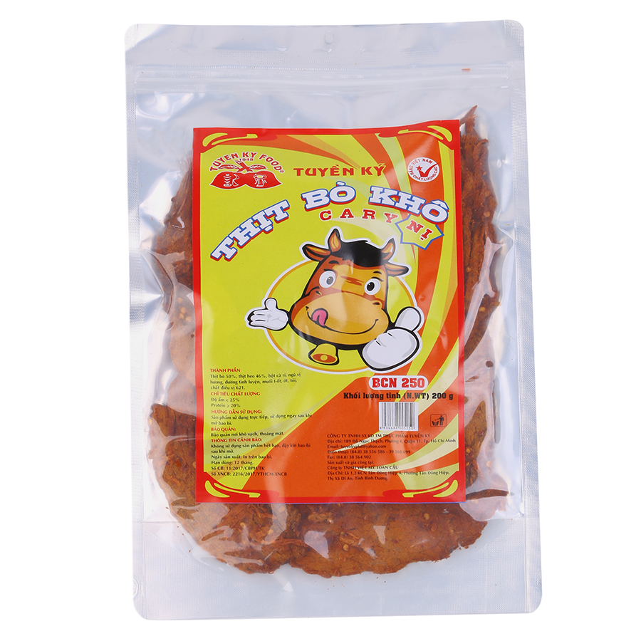 Thịt Bò Khô Tuyền Ký Vị Cà Ri Gói 200g - 8934688005250,62_236067,144000,tiki.vn,Thit-Bo-Kho-Tuyen-Ky-Vi-Ca-Ri-Goi-200g-62_236067,Thịt Bò Khô Tuyền Ký Vị Cà Ri Gói 200g