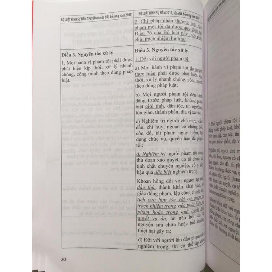 So sánh đối chiếu bộ luật hình sự năm 1999 sửa đổi bổ sung 2009 và Bộ luật hình sự 2015 sửa đổi bổ sung 2017
