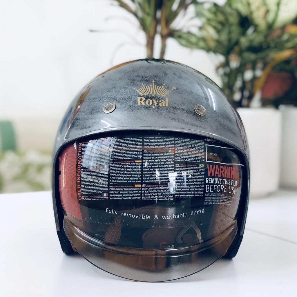 Nón bảo hiểm 3/4 ROYAL M139 có kính âm XƯỚT BÓNG