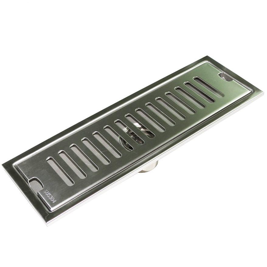 Hố ga thoát sàn Inox SUS 304 10X50cm Eurolife EL-HG1050 (Trắng bạc)
