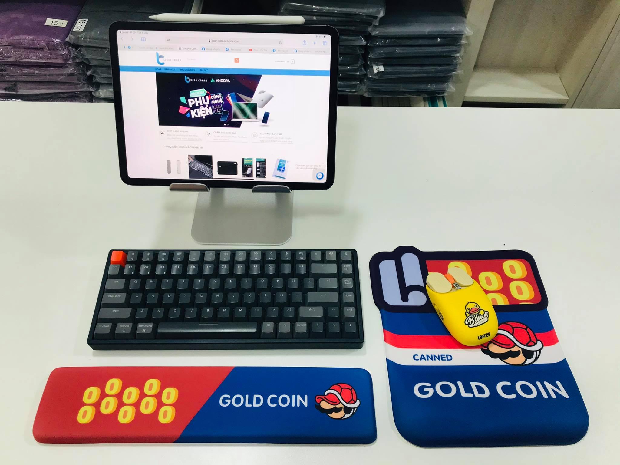 Kê tay bàn phím Silicon hình Corgi, Mario, Bamboo chống mỏi cổ tay Lucas - Hàng Nhập Khẩu
