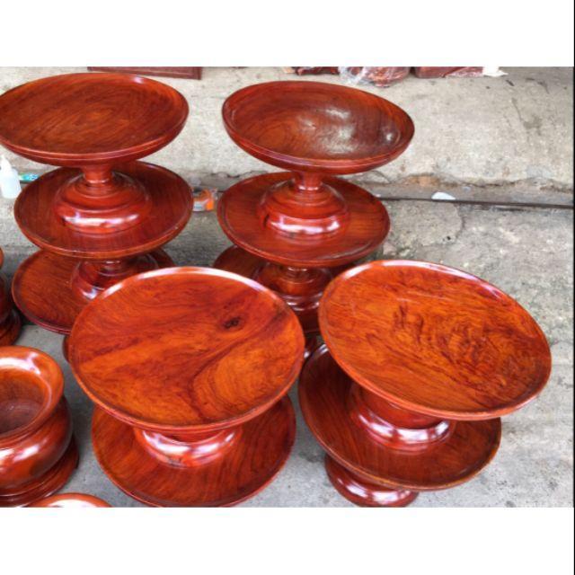 Đĩa chưng hoa quả bàn thờ gỗ hương ngang 30cm
