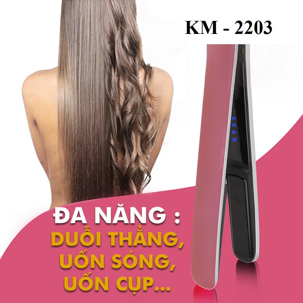 Máy duỗi tạo kiểu tóc KEMEI KM-2203 điều chỉnh 4 mức nhiệt độ phù hợp cho mọi tình trạng tóc chuyên dùng để ép, duỗi thẳng tóc, uốn cụp, xoăn gợn sóng thích hợp sử dụng cho salon và gia đình