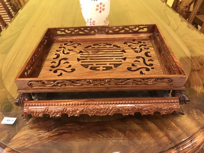 Khay trà gỗ cẩm lai lớn