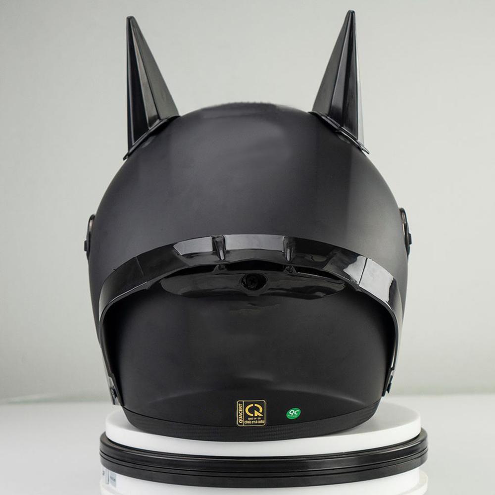 Combo Mũ Bảo Hiểm Phượt Fullface AGU 01 + Sừng batman + Đuôi gió