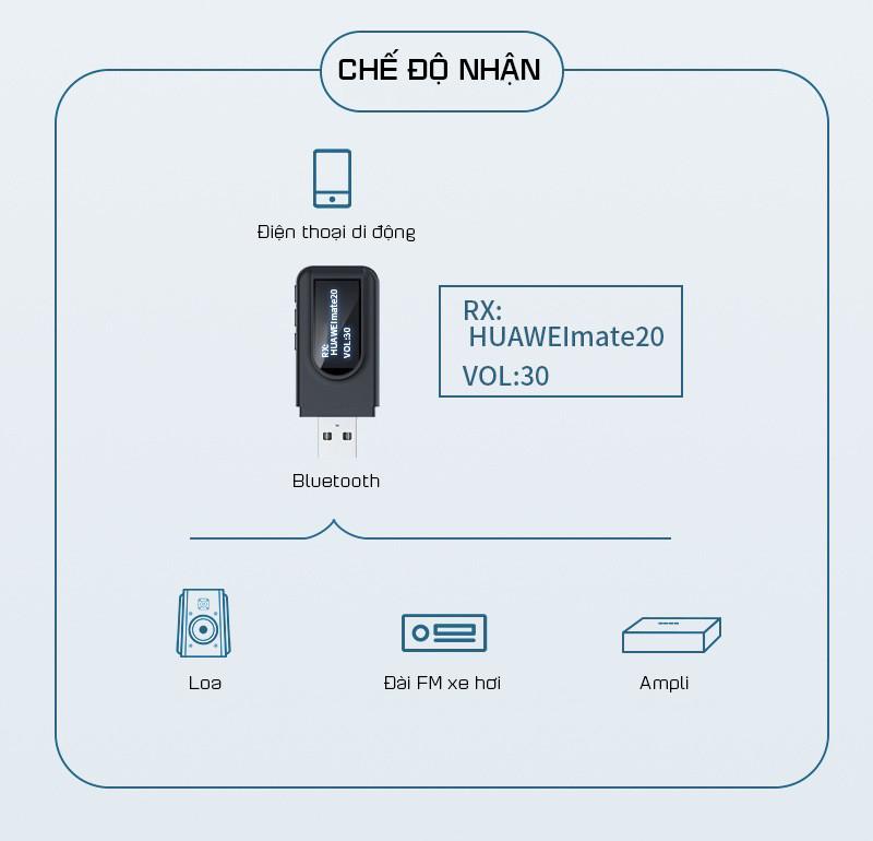 Thiết Bị Thu Phát Nhạc Không Dây USB Bluetooth 5.0 ZT-1