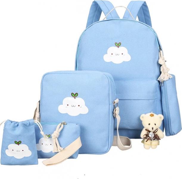 Bộ 5 ba lô nữ thời trang Smile Cloudy Tặng kèm gấu - Xanh Da Trời