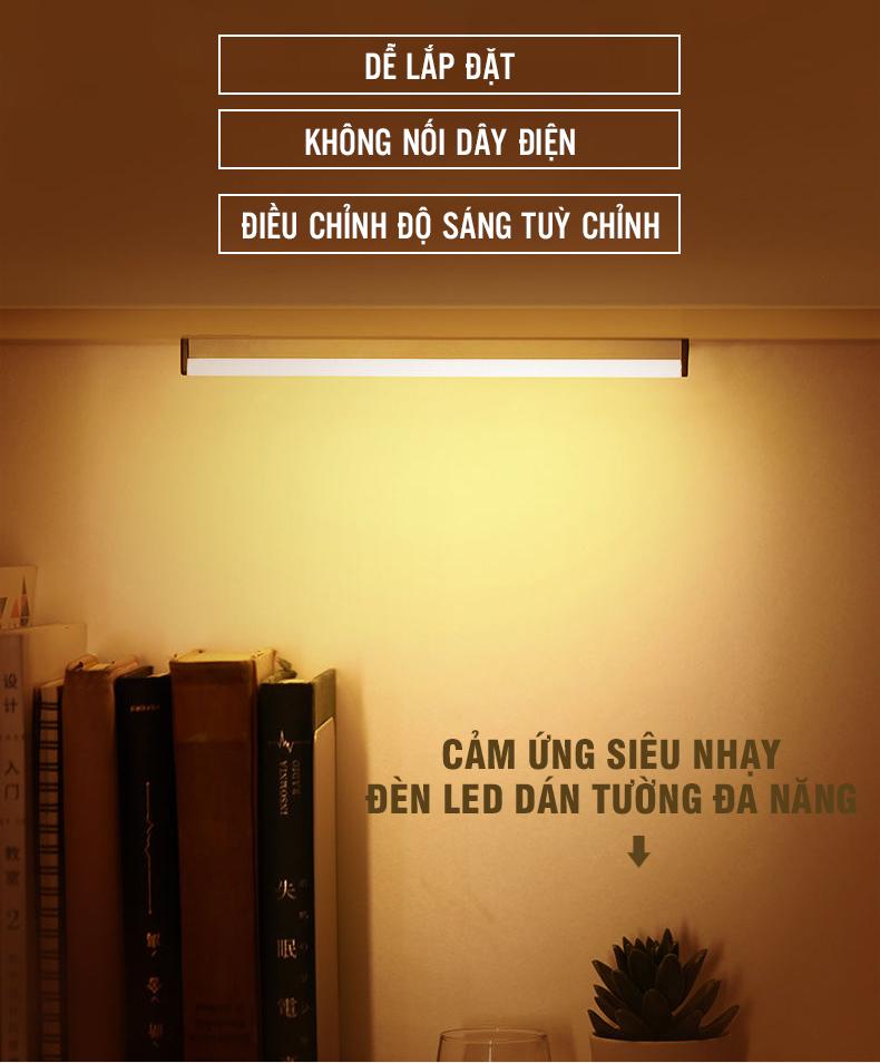Đèn Cảm Ứng Dán Tường LED Vàng công suất 3W Chiếu Sáng 30cm, sạc pin USB