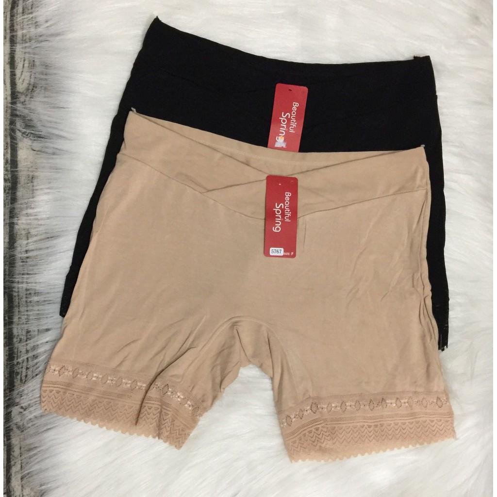 Set 2 quần đùi mặc váy cho mẹ bầu cạp chéo cao cấp (màu Đen và Nude)