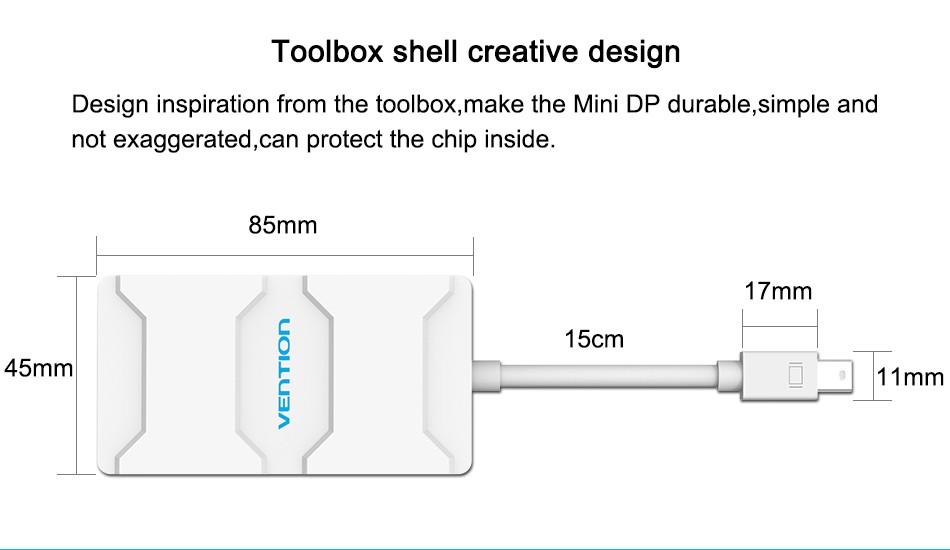 Cáp chuyển Mini DP to HDMI/DVI/VGA hàng chính hãng  Vention VAI-D03