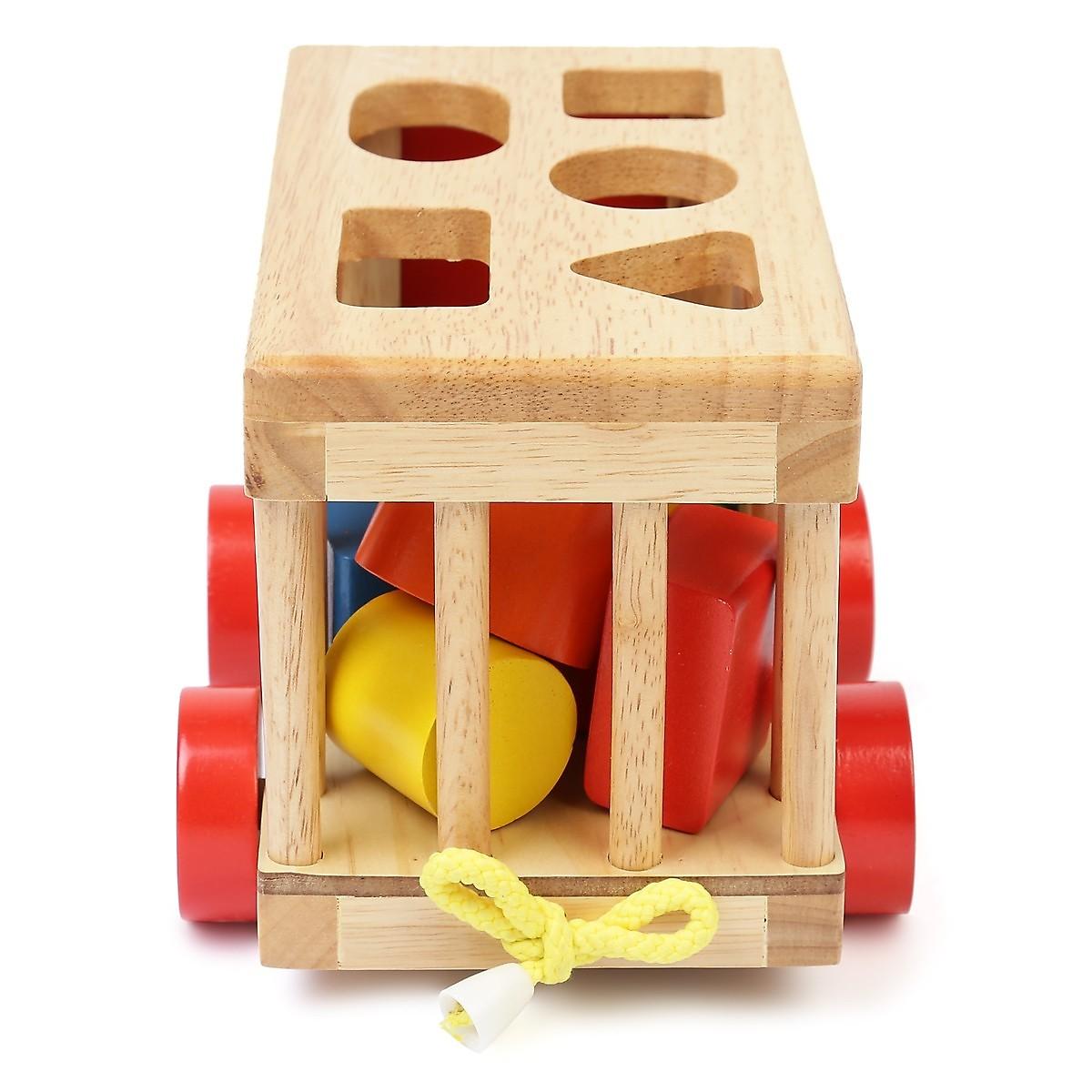 Combo Tháp cầu vồng- xe cũi thả hình - tangram - đồ chơi gỗ an toàn MK0069