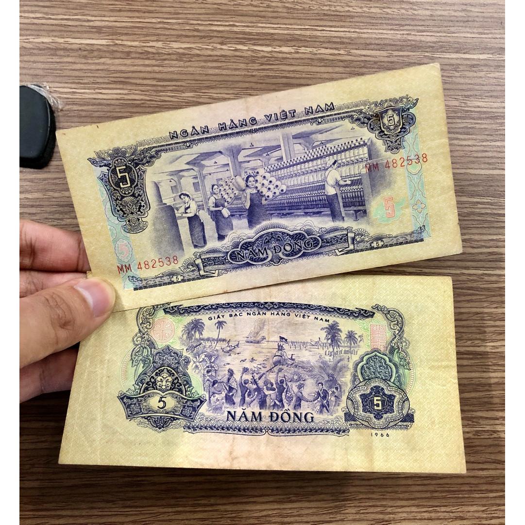 Tờ 5 đồng xưa 1976 , hình ảnh bắn rơi máy bay ở Ấp Bắc