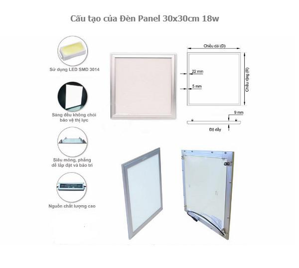 Đèn Panel 30x30cm 18w hàng chính hãng.