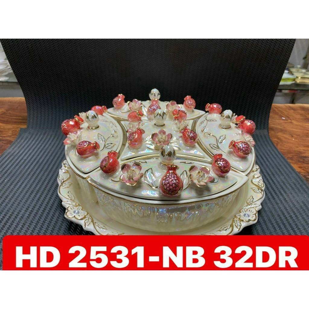 Khay mứt sứ 5 ngăn có nắp đậy quả lựu đỏ hoa hồng màu vàng cao cấp