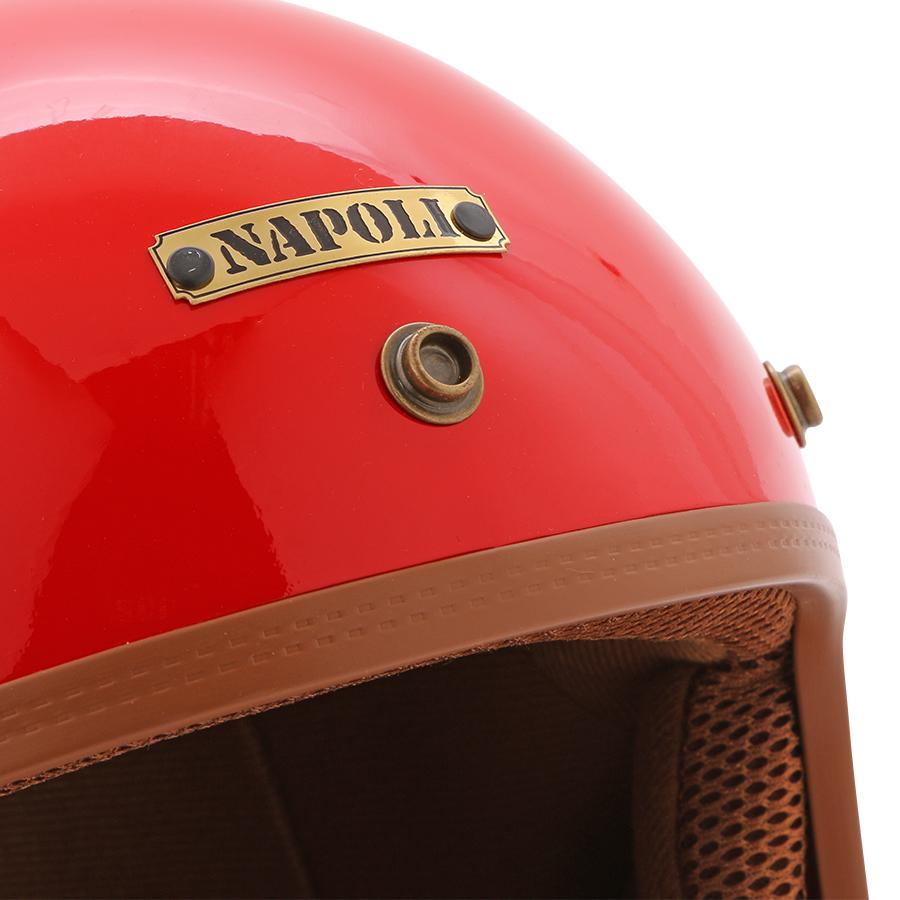 Mũ Bảo Hiểm 3/4 Đầu Napoli Sh - Đỏ Lót Nâu Tem