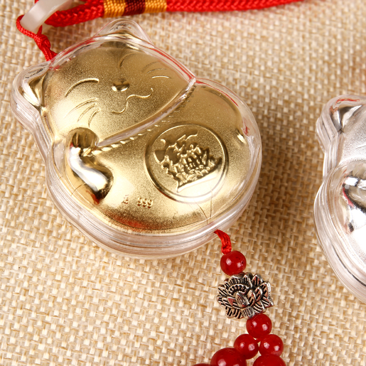 Mèo Thần tài Treo xe Vàng Bạc (hợp kim & vàng bạc thật)