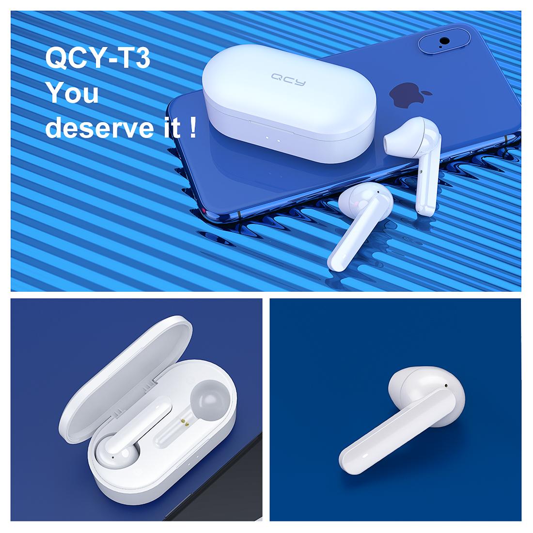 Tai nghe Bluetooth Tai Nghe Bluetooth Nhét Tai Đàm Thoại True Wireless QCY T3 Màu Trắng Chính Hãng