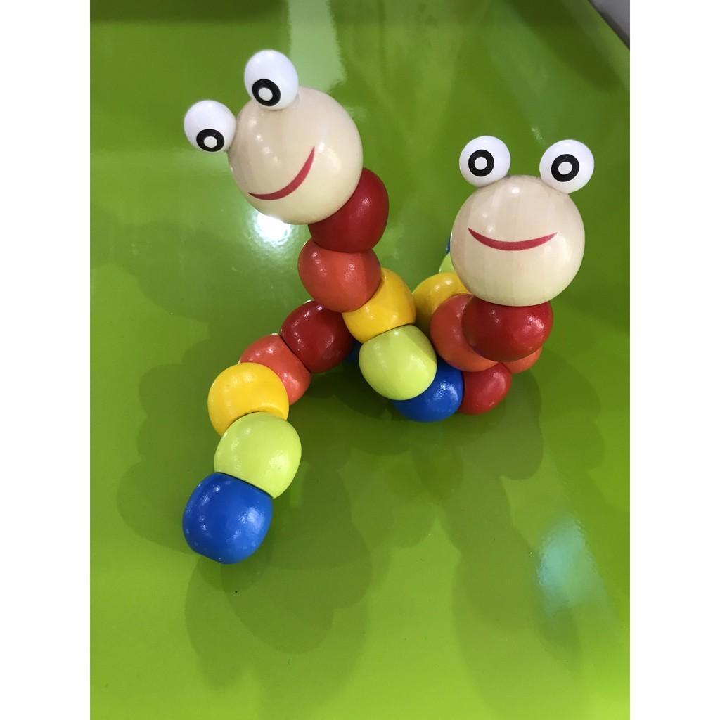 lục lạc gỗ-đồ chơi sâu gỗ-sâu gỗ cho bé-đồ chơi trẻ em
