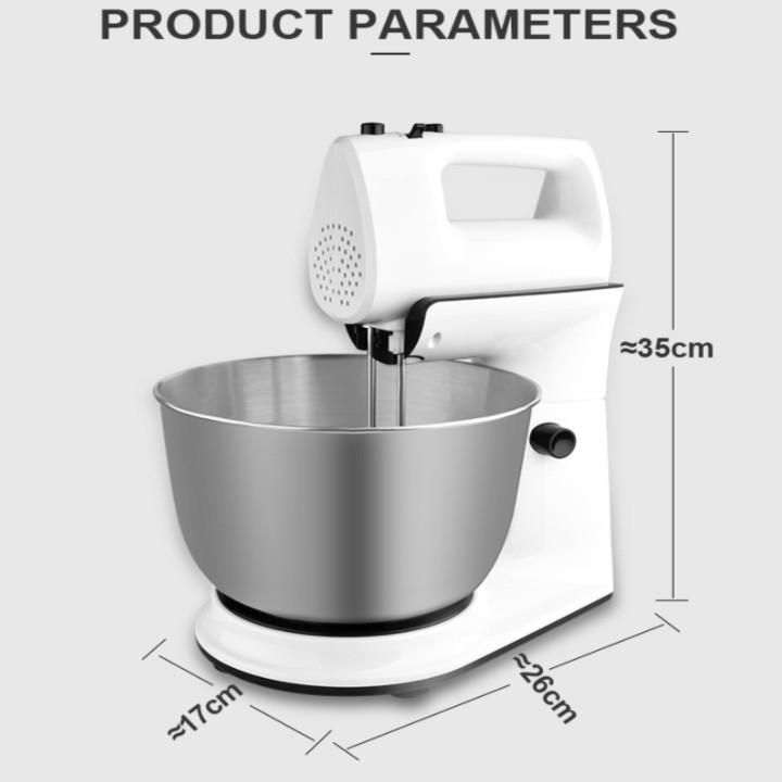 Máy trộn bột, đánh trứng cao cấp nhãn hiệu DSP KM3015 dung tích chứa 4 Lít, công suất 300W (2 đầu tạo kem và nhào bột riêng biệt) - Hàng Nhập Khẩu