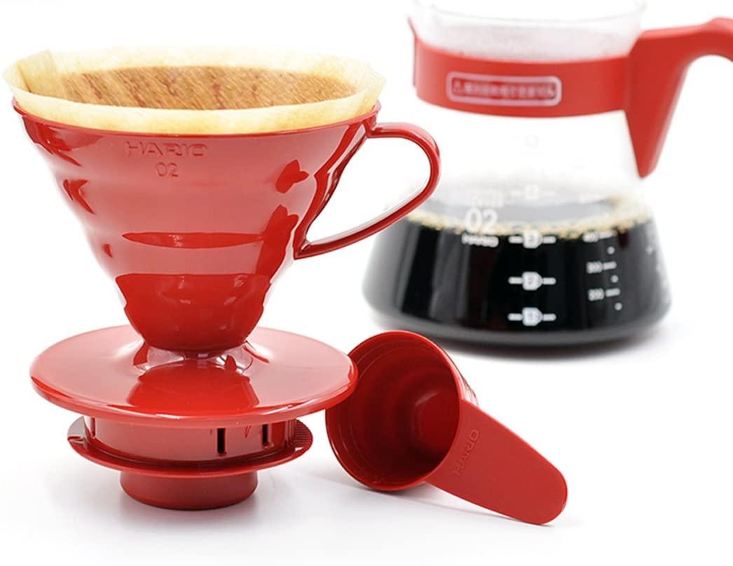 BỘ PHA CÀ PHÊ Hairo V60 màu đỏ  SET VCSD-02 RED 1-4 CUPS