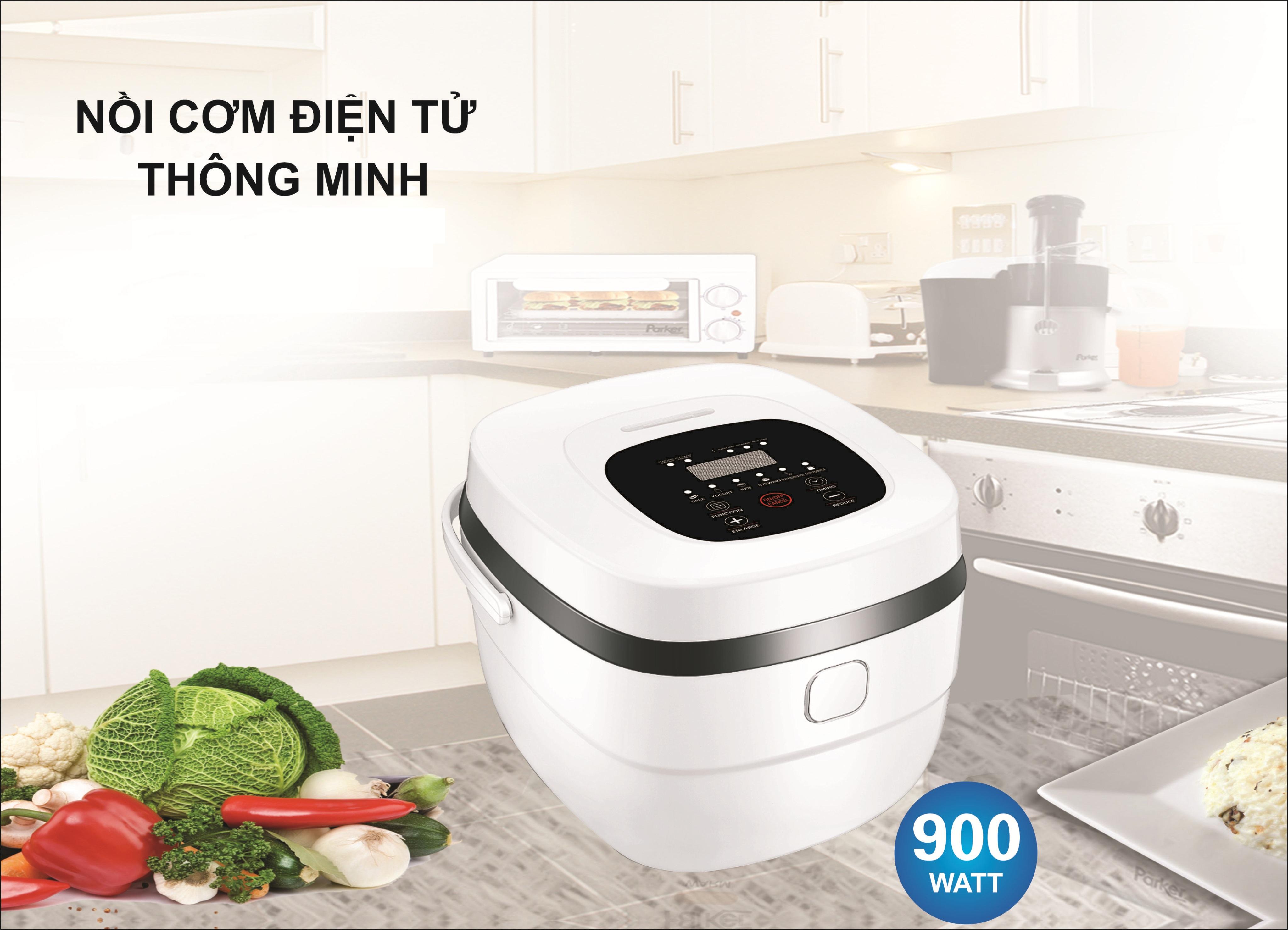 Nồi cơm điện tử thông minh đa năng với 8 chức năng nấu tiện dụng, thiết kế đáy 5 lớp chống trầy xước và ăn mòn