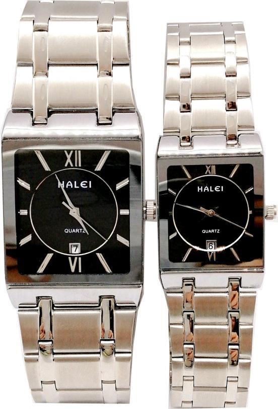 Cặp Đồng Hồ Nam Nữ Halei HL564 Dây đen mặt đen Tặng pin Nhật sẵn trong đồng hồ  Móc Khóa gỗ Đồng hồ 888 y hình