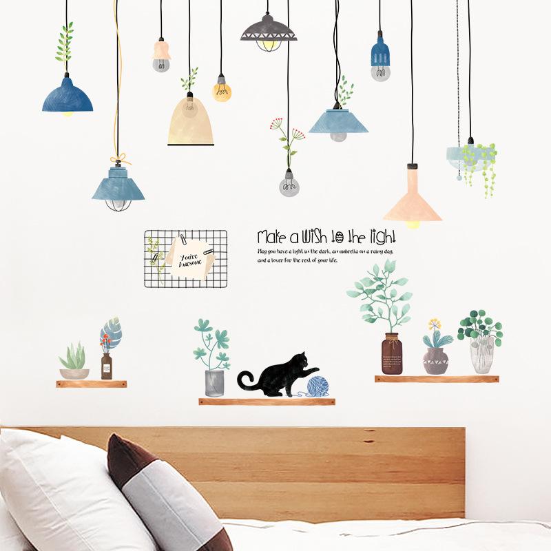 Decal dán tường phòng khách Đèn treo 10 trang trí nhà cửa sáng tạo (100 x 120 cm)