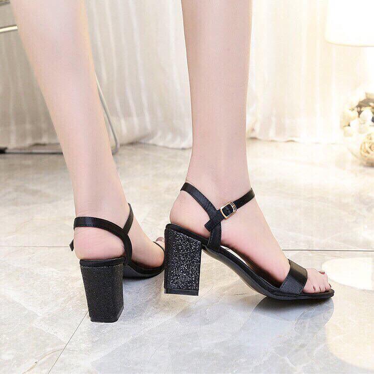 Giày cao gót 7 phân quai xi gót bọc kim tuyến LT (SD069)