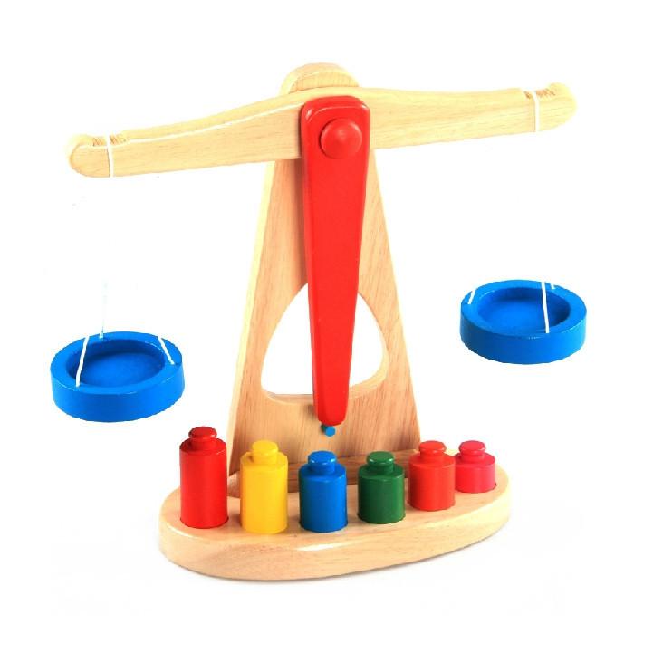 Cân gỗ thang bằng địa trơn đồ chơi giáo cụ gỗ cho bé