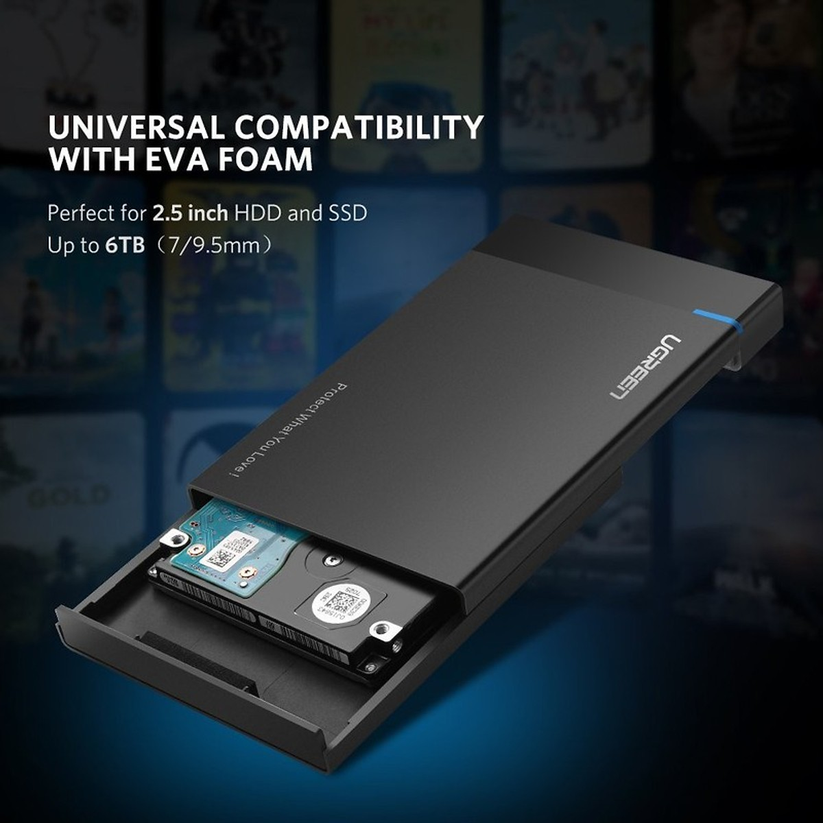 Hộp Đựng ổ cứng (HDD Box) 2,5 inch chuẩn kết nối USB 3.0 vỏ nhựa ABS cao cấp Ugreen 30847 - Hàng Chính Hãng